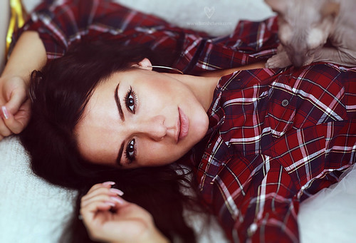 Beautiful Darya in a plaid shirt with a sphinx by LikClick Photography