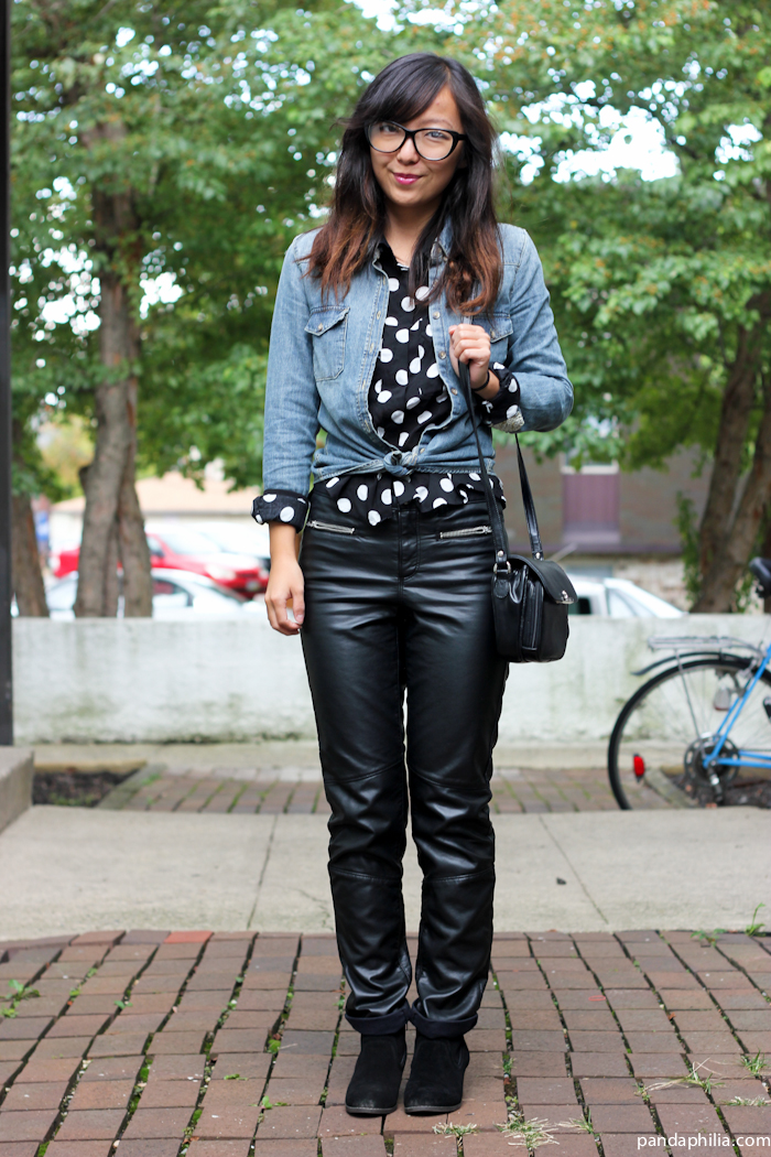 how to style chambray, leather, polka dots