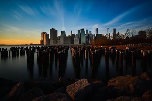 longexposure sunset newyork skyline brooklyn clouds nikon downtown day skyscrapers unitedstates manhattan clear 16mm d800 brooklynbridgepark 1635mm