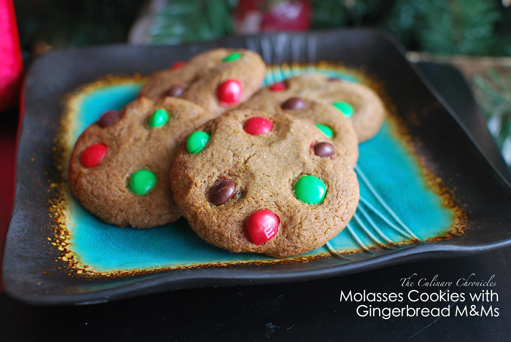 Molasses Cookies with Gingerbread M&Ms