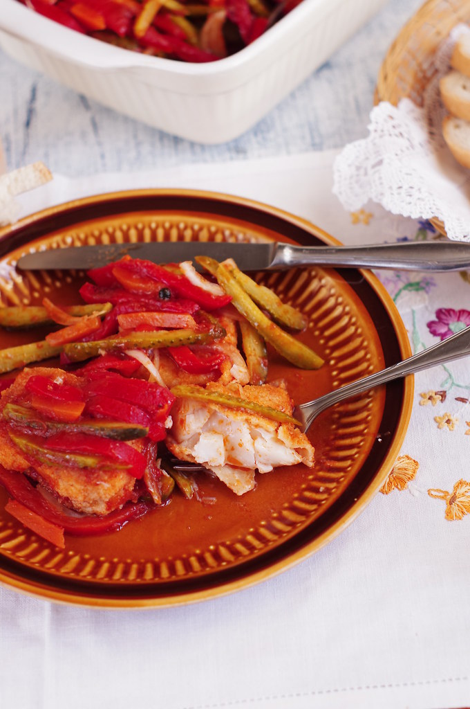 vegetables and tomato fried vinegar fish