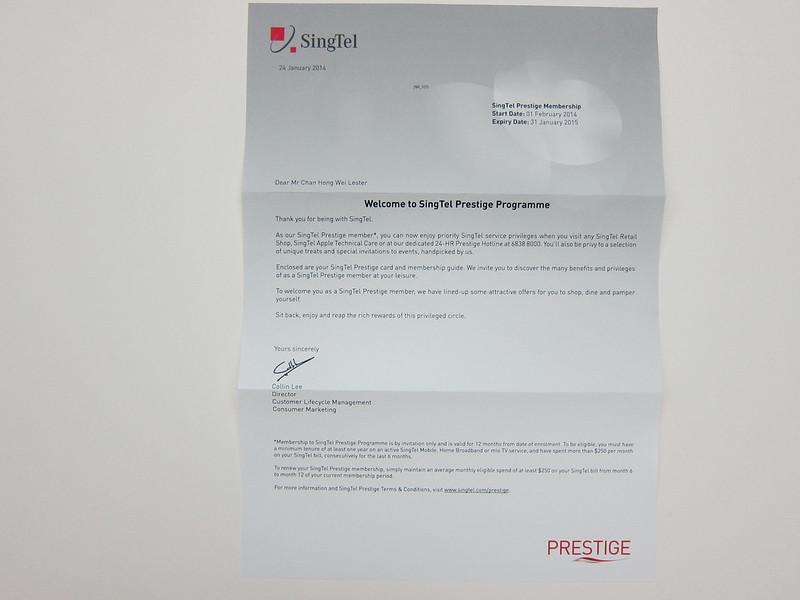 SingTel Prestige - Letter