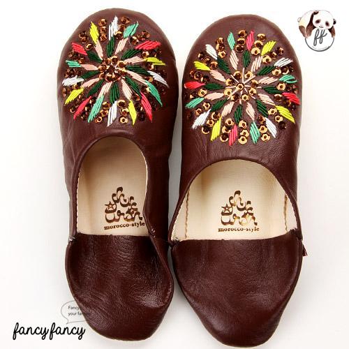 81.繽紛糖果MIX亮片刺繡皮拖鞋(摩洛哥製)-棕色