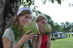 In Fiji, students take a break from learning about sustainability to enjoy some coconut milk.