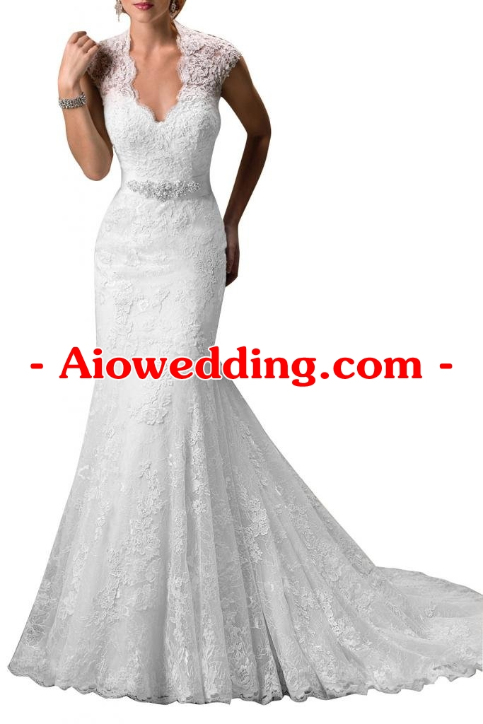Gorgeous Bridal Elegant V-neck Long Lace Slim Cut Wedding Gown Trumpet