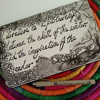 This weeks Moleskine doodle. My own words. Created to illustrate to my little girl, the importance of literacy and story telling. #moleskine #inkdrawing #inkillustration #doodle #art #sketchbook #inspirationalwords