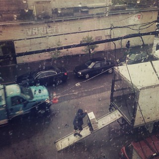 Unloading Truck of Restaurant Supplies in Rain, Dogpatch SF