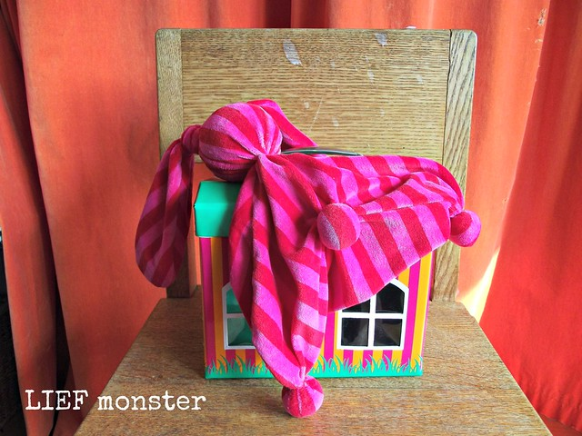 Pink drag-along-bunny with her cardboard house