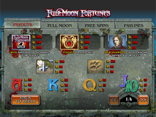 Full Moon Fortunes Slots Payout