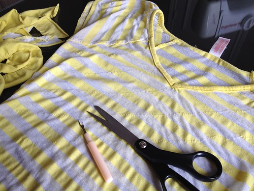 Yellow Striped Tee - In Progress