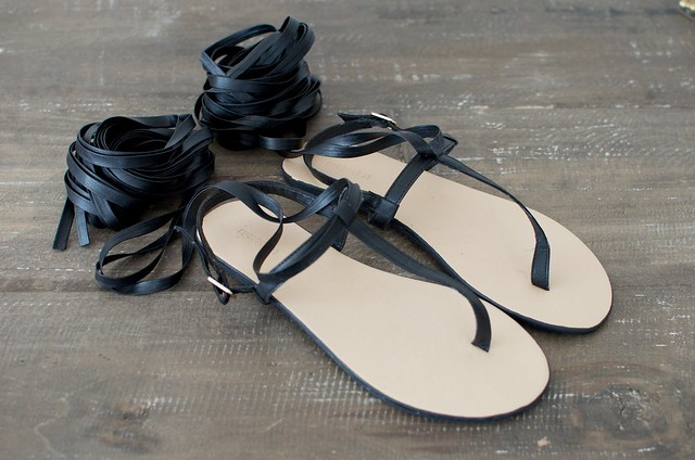 Make a pair of simple wrapped gladiator flats www.apairandasparediy.com