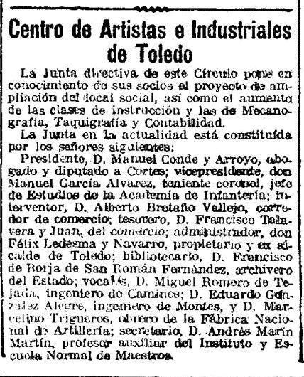 Noticia del concurso de ampliación y reforma del Centro de artistas e Industriales de Toledo. El imparcial 30 noviembre 1922