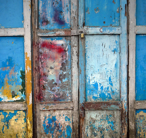Inle Lake Blue Door Abstract