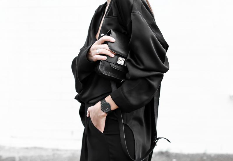 MODERN LEGACY fashion blog all black street style french effect Haider Ackermann silk shirt PS11 Larsson Jennings chain metal watch (1 of 1)