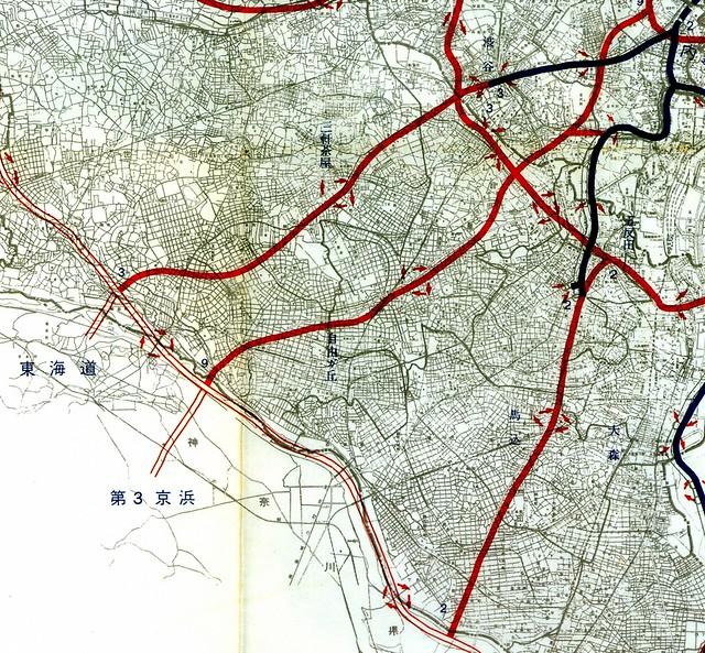 第三京浜道路が首都高速3号線とも2号線とも異なる路線で直結していた計画図