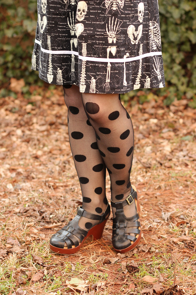 Black Skeleton Dress with Polka Dot Tights and Fisherman Sandal Heels