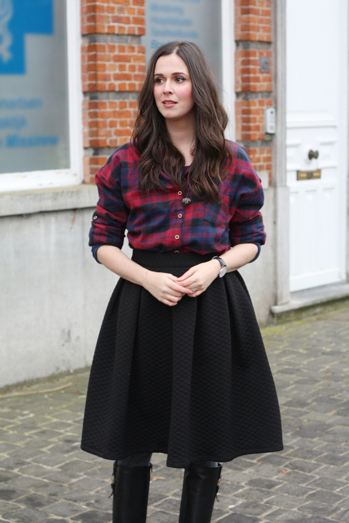 outfit: plaid shirt, circle skirt