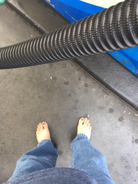 Barefoot at the pump