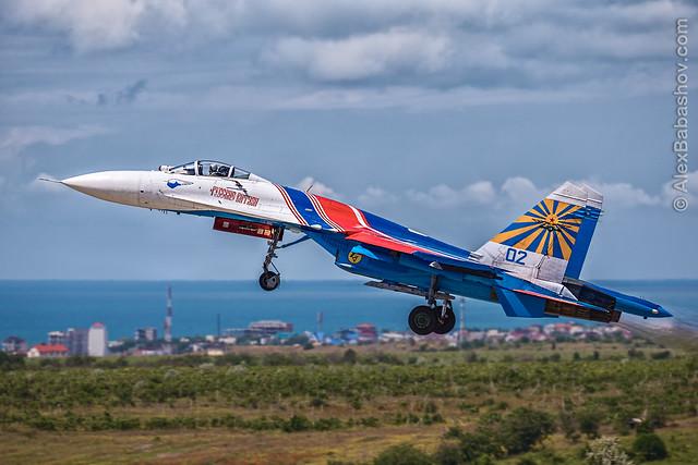 Sukhoi Su-27 Russian Knights during the Aviadarts-2016 flight skills competition in BELBEK AIRFIELD at Sevastopol, Crimea
