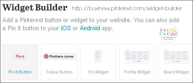 widget builder di Pinterest