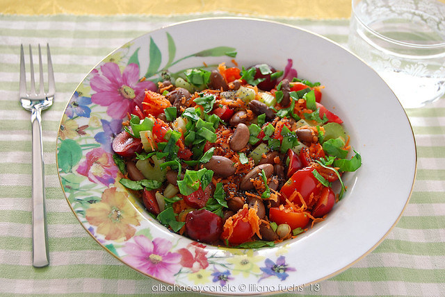 Bean salad with cherries and poppy seeds