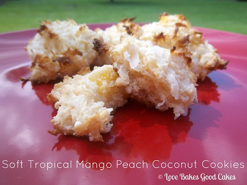 Soft Tropical Mango Peach Coconut Cookies on red plate.