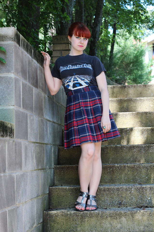Blue Oyster Cult T-shirt, Plaid Pleated Skirt, Silver Sandals