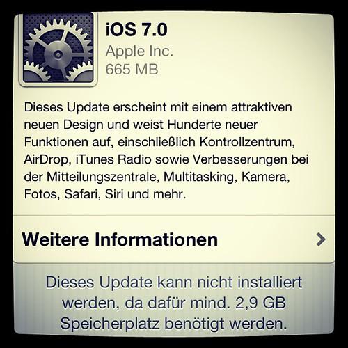 Nix mit #iOS Update heute. Erst mal aufräumen. :-/