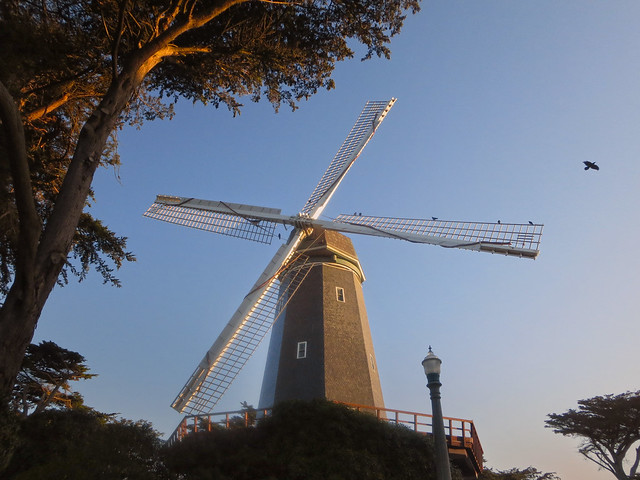 Windmill at MLK drive in Golden Gate Park, San Francisco, sunrise. (2014)