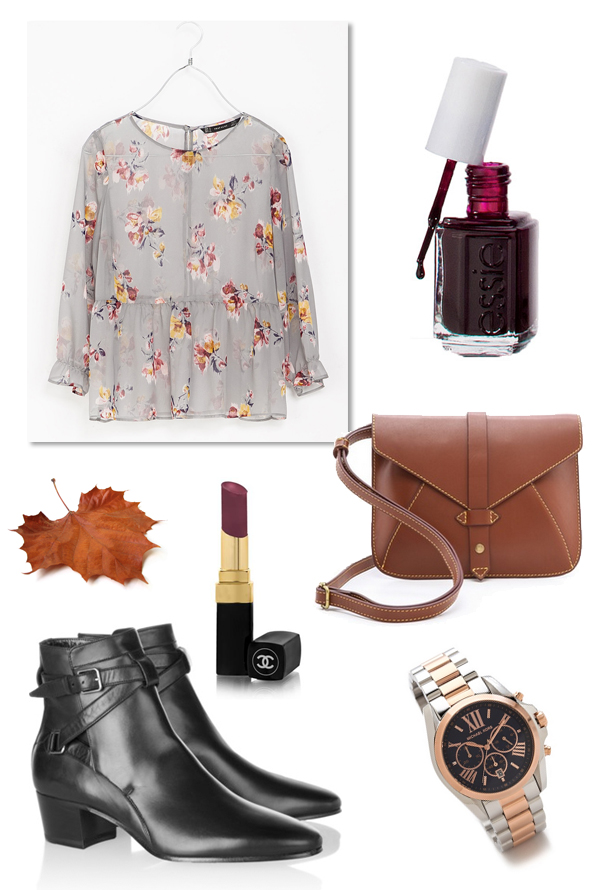 saint laurent booties, chanel rouge coco shine, essie wicked, floral blouse, בלוג אופנה, שעון מייקל קורס, מגפונים שחורים, שאנל, חולצה פרחונית