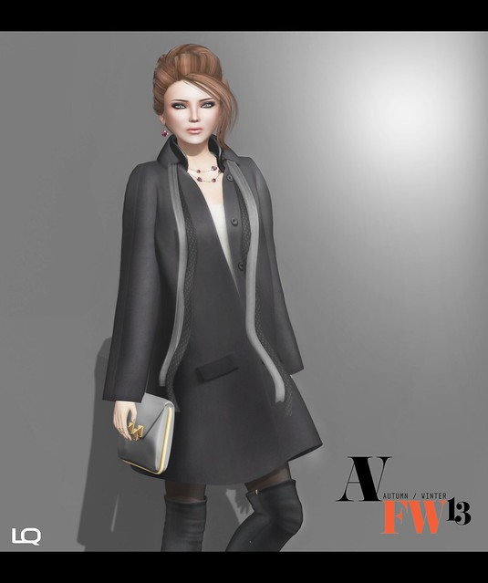 AFWFW2103 - NYU - Double Collared Coat, Black w white inner