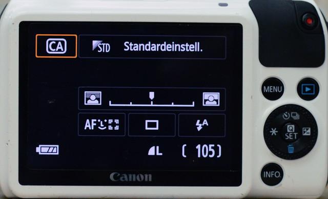 Einstellungen Canon EOS M für Lochkameraobjektiv 1/4