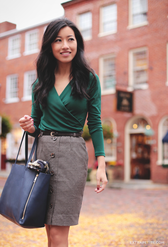 green wrap top herringbone skirt