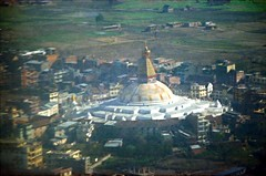 Buddhist temple Bodhnath in Kathmandu, Nepal Feb 1990 459