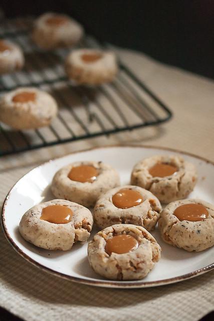Coffee-Toffee Thumbprint Cookies