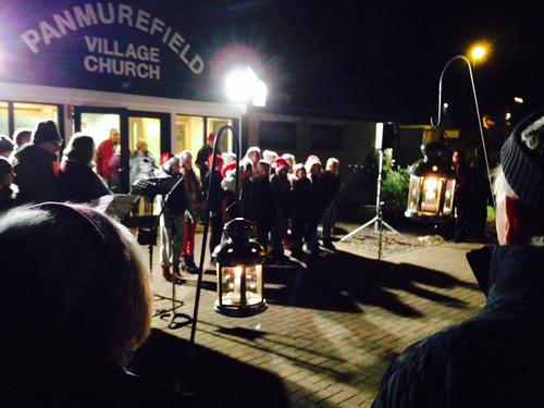 Carol service outside Panmurefield Village Church
