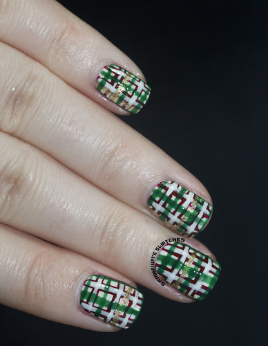 Christmas Plaid Nail art (5)