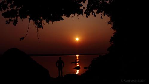 sunset silhouette canon river eos 1855mmkitlens brahmaputra 1100d rebelt3