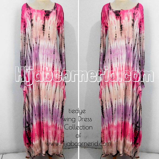 Wing Dress Tiedye Hijabcornerid Collection Pink Colour