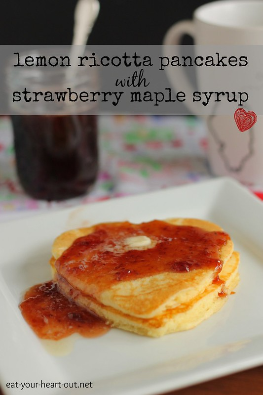 lemon ricotta pancakes with strawberry maple syrup #12bloggers