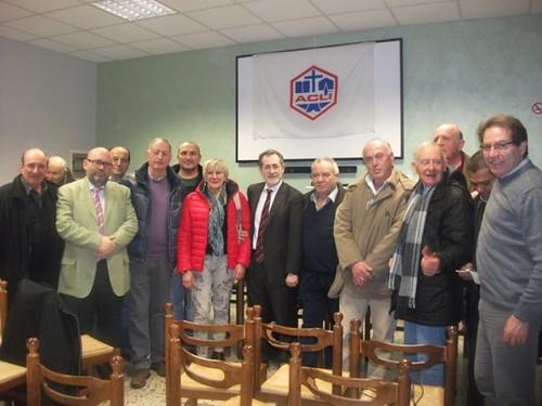 24 febbraio 2014: Gianni Bottalico con aclisti di Fossato di Vico (Pg)