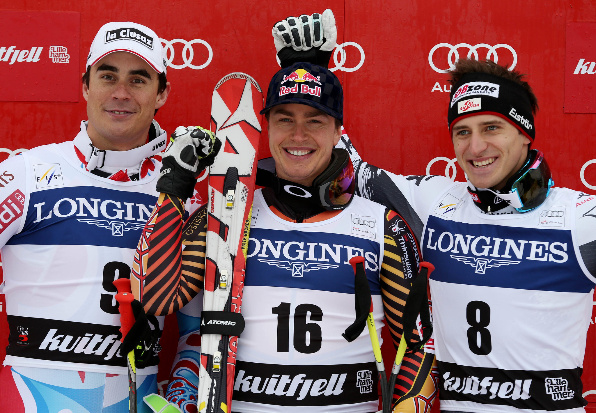 Guay stands atop the podium with Clarey and Mayer in Kvitfjell, NOR