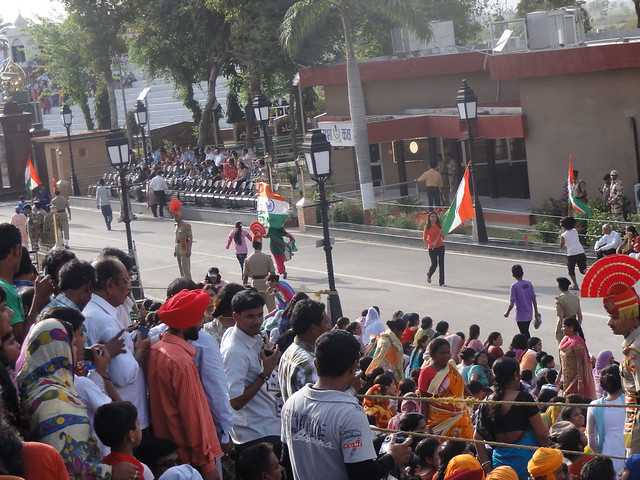 People dancing on patriotic tunes at Wagah Border