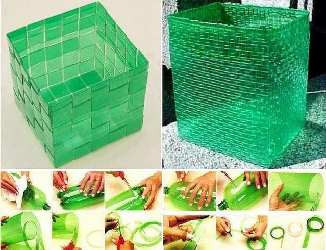Mira los hermosos cestos que puedes hacer con botellas plasticas