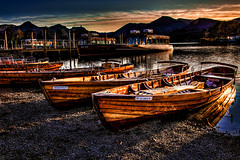 The Rowing Boats Of Derwentwater at Sunset