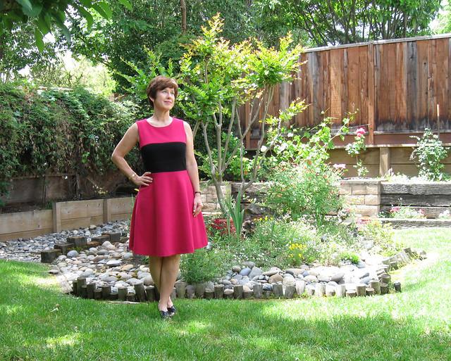 Pink black dress front2