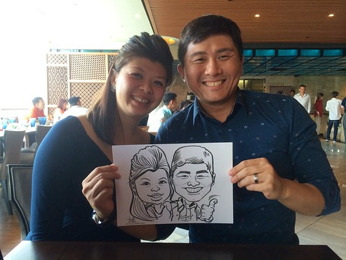 caricature live sketching for BMW M Club Singapore