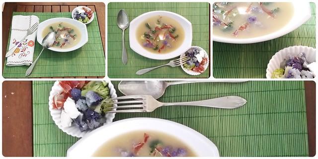 Sopa de brou amb flors Collage