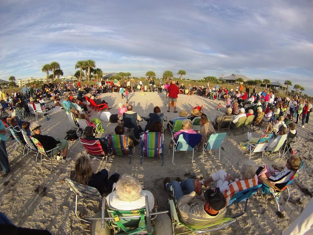 Drum Circle Before Sunset at Englewood Beach, Fla., Jan. 25, 2015