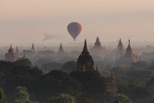 travel mist tourism misty fog sunrise landscape temple ruins asia ballon buddhism visit dust angkor pagodas bagan stupas